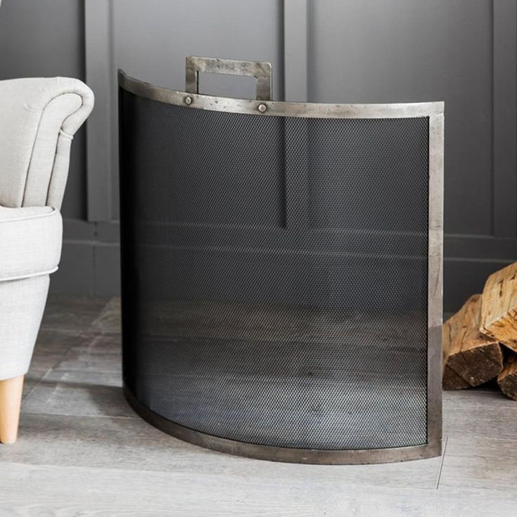 Lodge Brushed Steel Firescreen from The Farthing