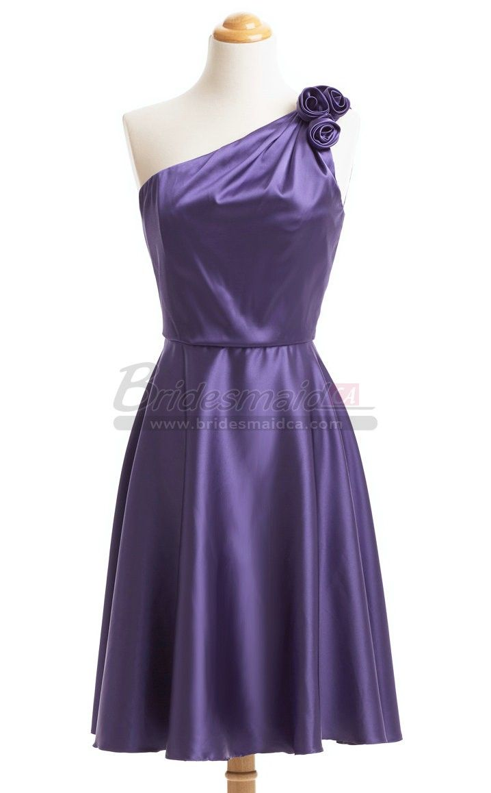 Purple Charmeuse Short One Shoulder Bridesmaid Dress BDS-CA430