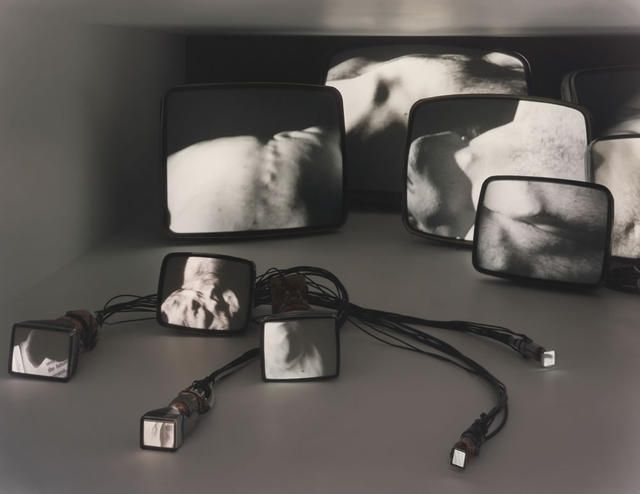Gary Hill (American, b. 1951): Inasmuch As It Is Always Already Taking Place (1990): Analog audio/video, closed-loop installation for 16 black-and-white TV tubes of varying sizes, edition 2 of 2 + AP. Courtesy: Art Gallery of Ontario, Toronto.