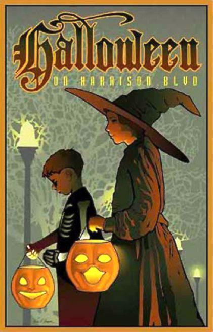 "Gorgeous Giclee print ""Halloween on Harrison Boulevard"" by Boise, Idaho artist Ward Hooper.  Love this!"