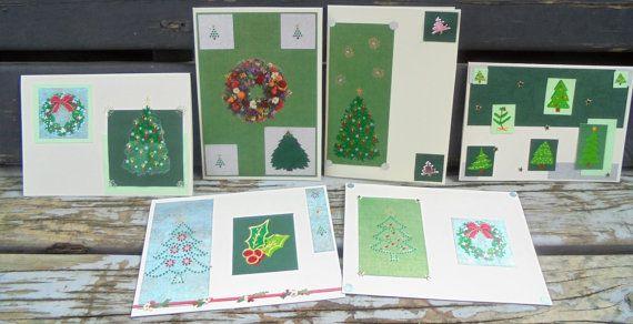 Christmas Trees  set of 6 handmade cards by RogueKissedCraft