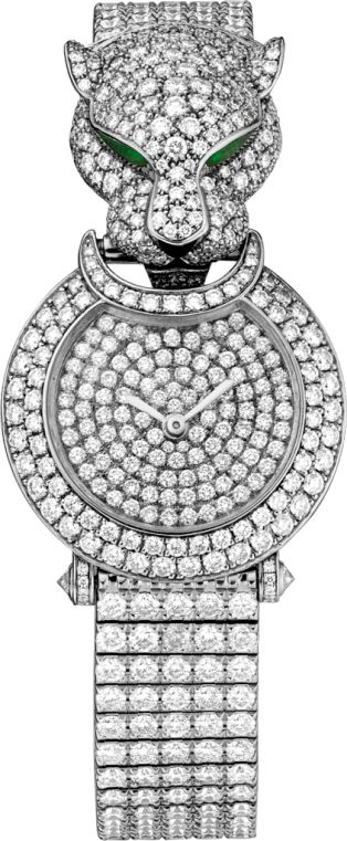 Panthère Captive de Cartier watch Small model, rhodiumized 18K white gold, onyx, diamonds