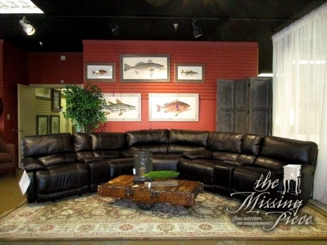 "Cindy Crawford three piece reclining sectional in a deep chocolate brown. This piece is leather everywhere the body touches. 116""L x 116""W x 38""H. Was $2,999 new! At posting, we have the matching power recliner chair."