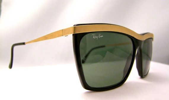 Vintage RAY BAN w0472 Matte Gold Black OLYMPIAN by ifoundgallery, $125.00