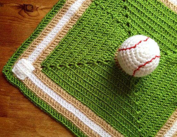 Boy's Crochet Baby or Toddler Baseball Security Blanket, Lovey  Baseball blanket Baby gift on Etsy, $22.00