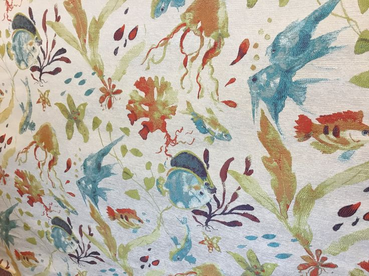 Swavelle/Mill Creek Submarino Tropical Upholstery Fabric, Coastal Sold By The Yard