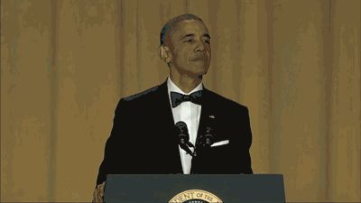 The complete transcript of President Obama's 2016 White House correspondents' dinner speech.  Obama took shots at presidential nominees on both sides, poked fun at the media and ended his speech with two memorable words.