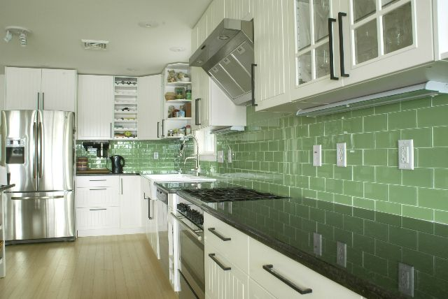 green subway tile kitchen backsplash | supreme glass tiles light
