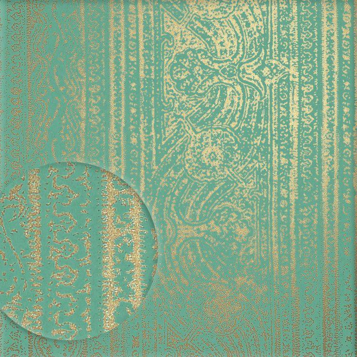 Tapete ODISHA gold auf türkis von Harlequin.