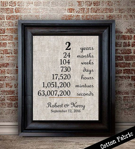 2 years together Cotton Anniversary Print by lemonmilkdesigns