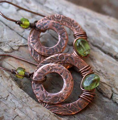 Copper Washer Jewelry.... I like this...maybe a different color stone
