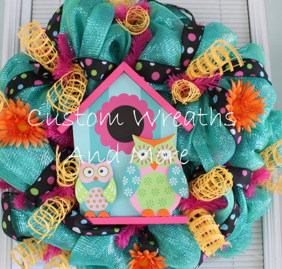 Owl Mesh Wreath just in time for spring by CustomWreathsAndMore, $75.00
