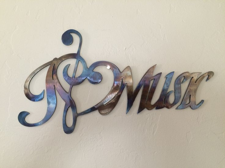 I Love Music Notes Metal Wall Art Decor