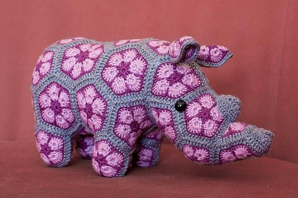 Woolbunnies: Thandi the Rhino. African Flower crochet toy
