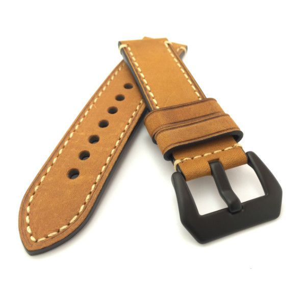 Brown Crazy Horse Leather Watch Strap Panerai Style (Black PVD, 22mm, 24mm) #Unbranded
