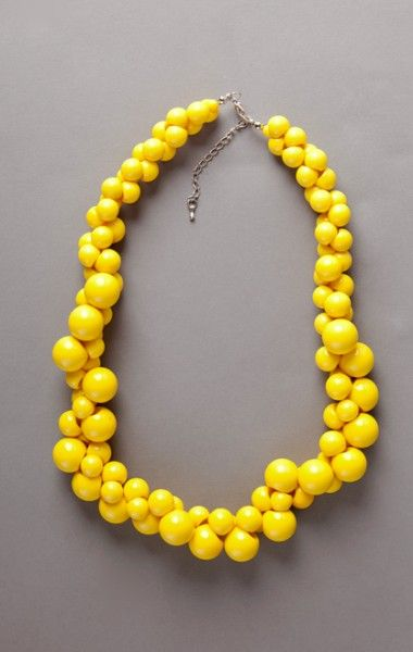 yellow necklaces | Yellow Bead Necklace $9.99 @Trudi Wilbur Dalton your bridesmaids would look cute with these chunky necklaces...or even for you!