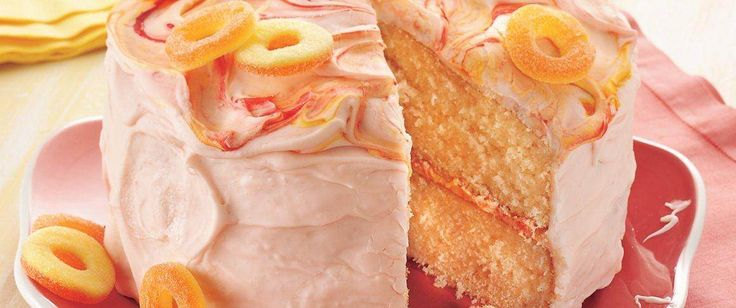 A peachy cake gets its fruity flavor from peach gelatin and peach candies and its ease in prep from a cake mix.