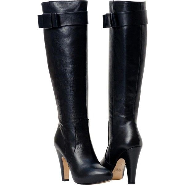 PAOLO IANTORNO Marion Black Tall Leather Boots (1 270 PLN) ❤ liked on Polyvore featuring shoes, boots, heels, botas, sapatos, black, black leather knee high boots, tall black boots, sexy high heel boots and heeled boots