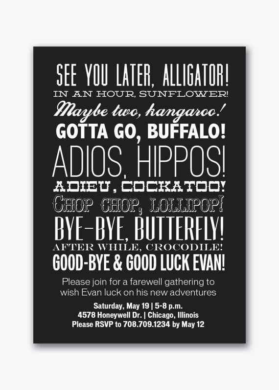 farewell party typography invitation custom by viavaciousdesigns