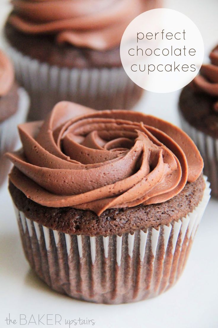 Perfect Chocolate Cupcakes with a light and fluffy chocolate buttercream frosting!