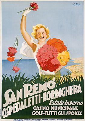 Sanremo, Ospedaletti, Bordighera - Riviera Ligure di Ponente - Riviera dei Fiori vintage affiche #essenzadiriviera  www.essenzadiriviera.it
