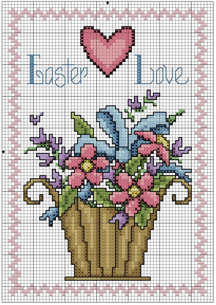 Flower Baskets Cross Stitch Charts : Best images about cross stitch flowers on