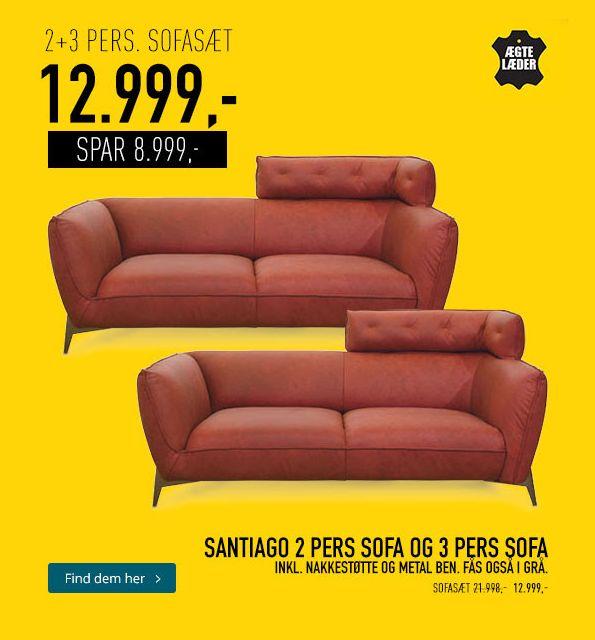 Santiago 2 personer og 3 personer sofa fra My Home - spar 8999 kr!