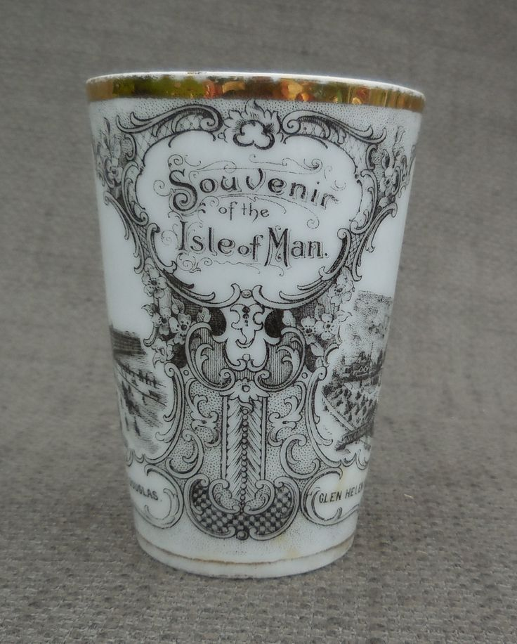 Beautiful Late Victorian ISLE of MAN Antique SOUVENIR Porcelain Beaker, Cup...Vintage Holiday...Laxey Wheel, Glen Helen Hotel, Douglas Prom! by SlimandSugar on Etsy