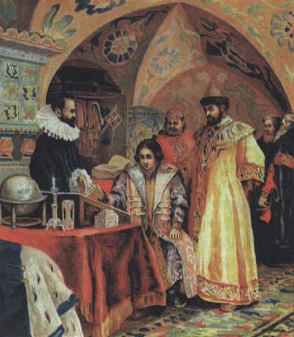 Painting by N. Nekrasov of Boris Fyodorovich-Feodorovich Godunov (c.1551-1605) Overseeing the Studies of his Son, Tsar Fyodor-Feodor II Borisovich Godunov (1589-20 June 1605). Physically robust & beloved by his father Boris, Fyodor II received the best education available at that time & from childhood was initiated into all the parts of government, sitting regularly in the council & receiving the foreign envoys.