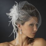 Kerri - Elegant crystal feather birdcage veil - SALE