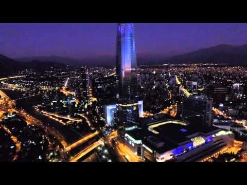 Aerial view on Christmas night at Costanera center in Santiago, Chile