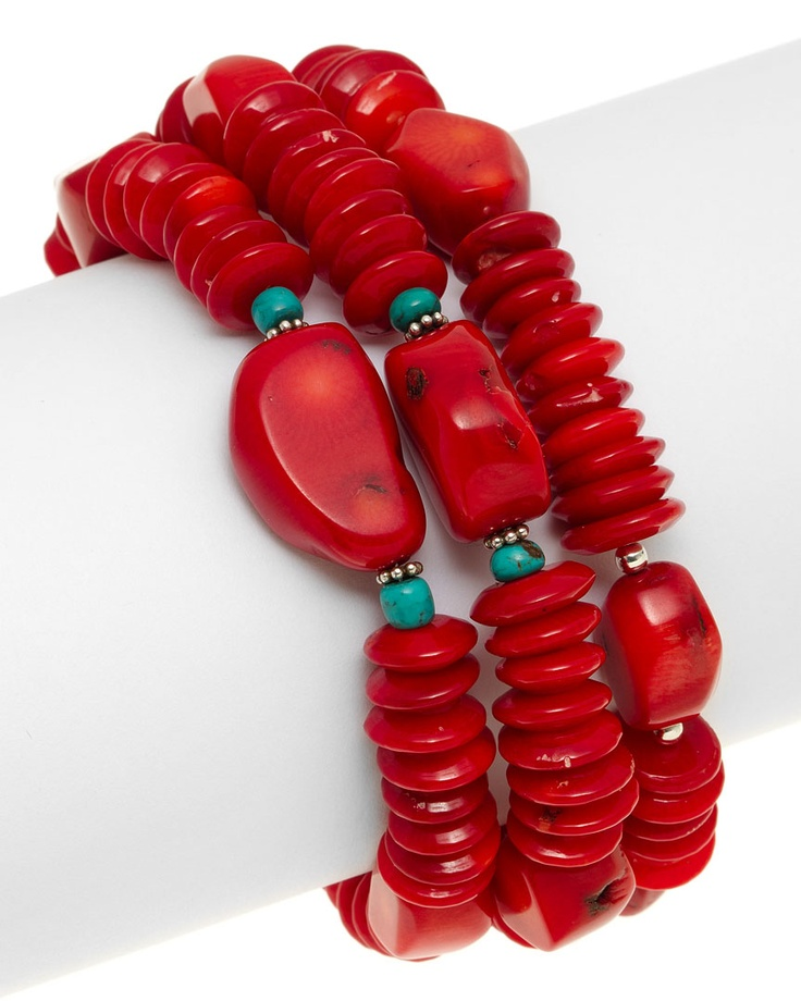Barse | Silver, Coral, & Turquoise Bracelet