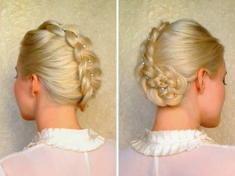 Dutch braid updo hairstyles for medium long hair.  I love this lady's tutorials - they are clear and easy to follow and I can actually do the styles for myself!  This one looks really pretty with shiny hair!