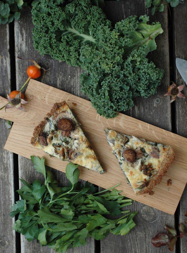 Kale and Mushroom Tart with Ricotta
