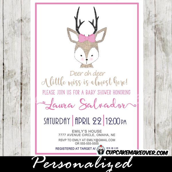 Deer Oh Deer a little miss is almost here! Beautiful woodland themed baby shower invitations featuring a cute hand drawn female reindeer with antlers in grey and a very light shade of brown with a pink bow on a white backdrop. Perfect for a baby girl shower celebration. #cupcakemakeover