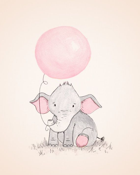 Baby Elephant Nursery Art Elephant Holding by TheDaisyFields