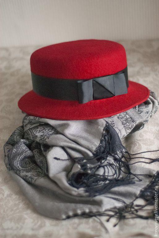 """Купить Шляпка-канотье """"Мулен Руж"""" - ярко-красный, малиновый, канотье, шляпка, Париж"""