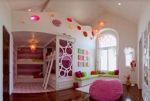 Eclectic Kids Bedroom with Window seat, Arched window, Laminate floors, High ceiling, Bunk beds, Built in bunk bed