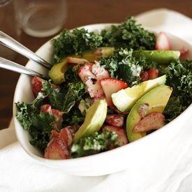 Strawberry-Avocado Kale Salad with Bacon and Creamy Poppyseed Dressing.