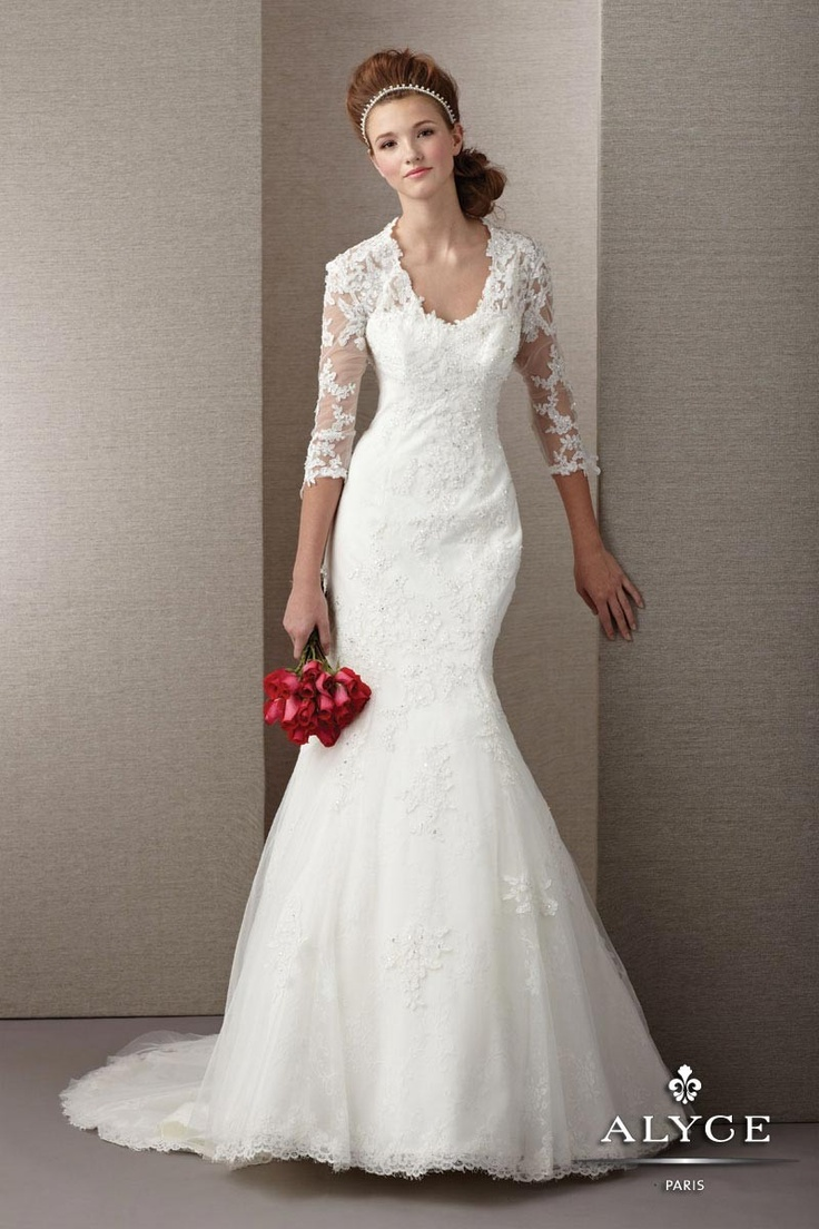 Perfect Winter Wedding Dress Style 7853 Long Gown Tulle And Lace V Neckline Open Back With Train