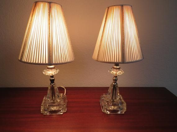 Pair 1950s Lead Crystal Bedside Lamps With Shades Mid Century