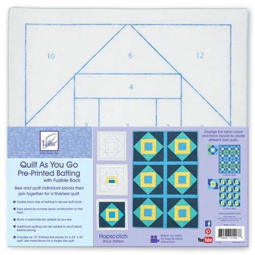 Quilt as You Go  Pre-Printed Batting with Fusible Back Hopscotch Block Pattern - June Tailor