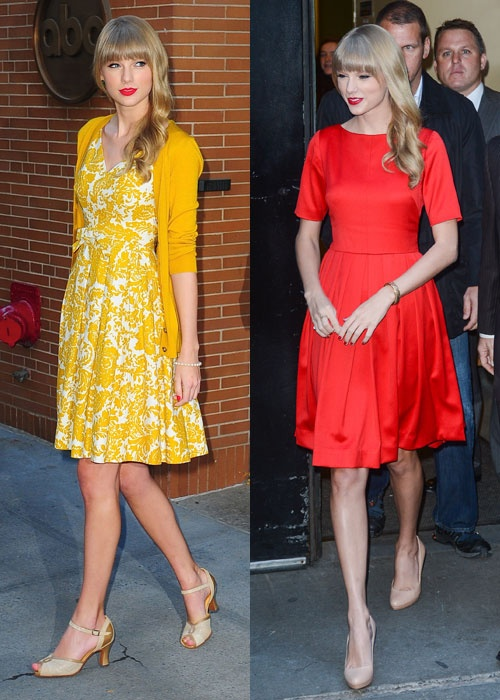 Taylor Swift wore both of these dresses on the same day. Which do you prefer: yellow or red? #CosmoStyleCrush