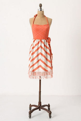 Sweeping Angles Apron modern aprons:  I love the stylish chevron strips and the happy orange color.