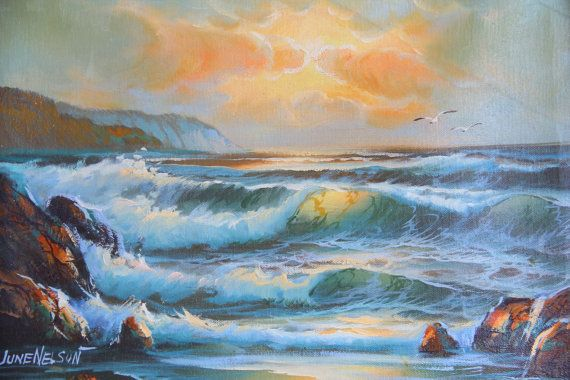 Vintage Seascape Ocean Painting 12x16 Signed June Nelson