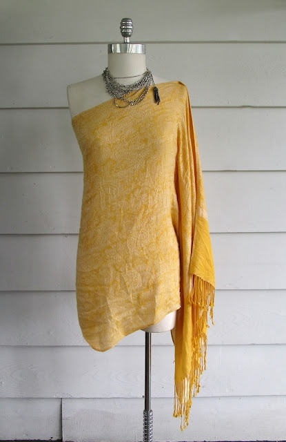 Extra large scarf turned into an off the shoulder dress--I would wear as a top with a tank underneathe and some slim-fit dress pants.