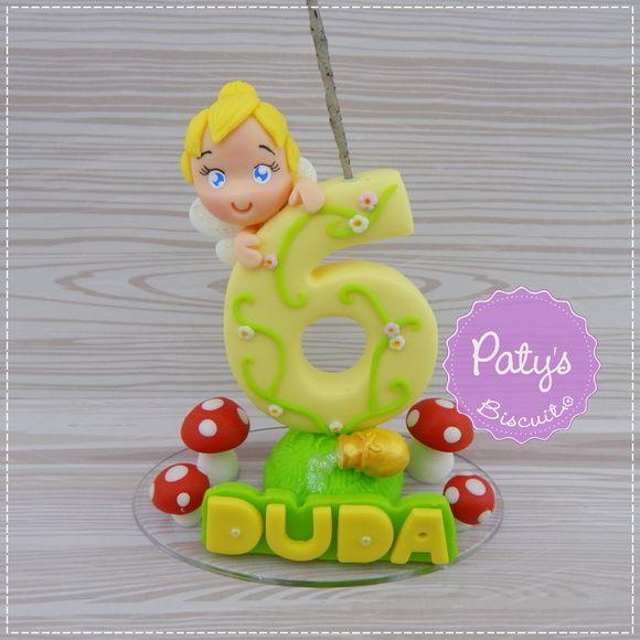 Mini topinho com vela Tinker Bell (Sininho) - Paty's Biscuit