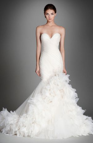 Sweetheart Fit and Flare Wedding Dress  with No Waist/Princess Seams in Silk Organza. Bridal Gown Style Number:33283607