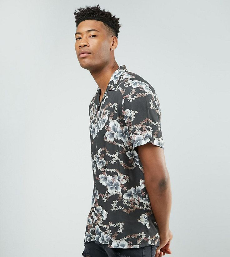 ASOS TALL Oversized Viscose Floral Print Shirt - Black