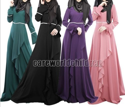 New-Ladies-Kaftan-Abaya-Muslim-Jilbab-Islamic-Flouncing-Maxi-Dress-Arab-Clothes